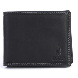 Polo Tuscany Leather Billfold With Drivers Licence Wallet | Black