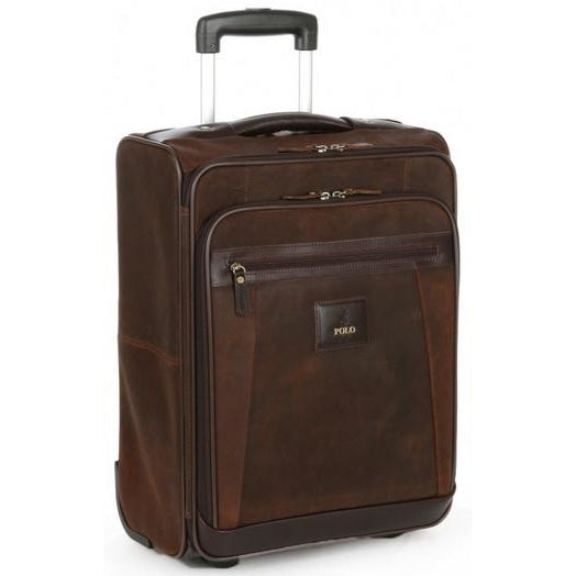 Polo Raw Oil Skin Carry On Trolley Bag | Brown