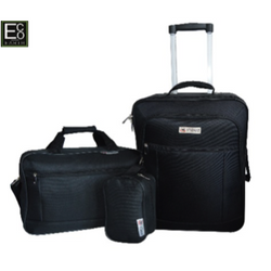 Eco Earth American Aviator 3 Piece Luggage Set | Black