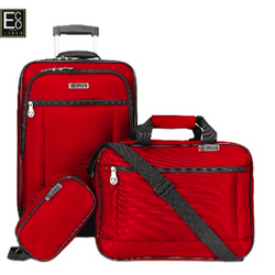 Eco Earth American Aviator 3 Piece Luggage Set | Red
