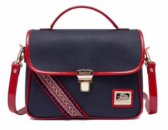Blue Red Flapover Handbag