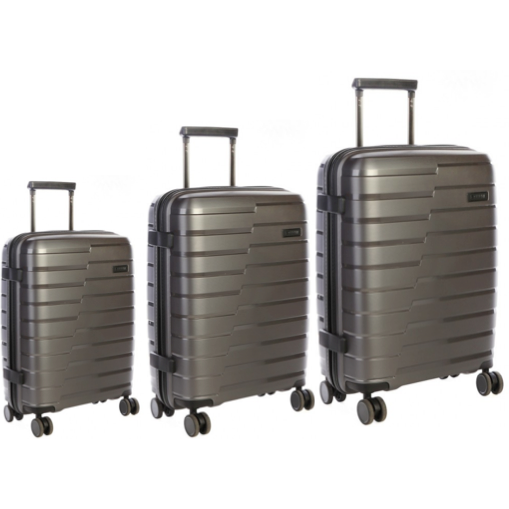 New Cellini Microlite Hardshell Set of 3 Spinners Charcoal - iBags.co.za