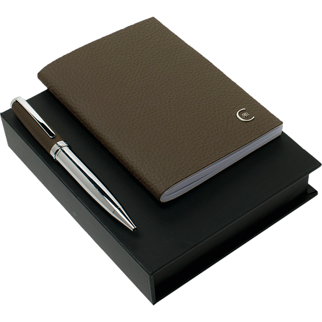 Cerruti Luxury Notebook and Pen Set | Taupe