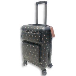 Polo Classic Double Pack Cabin 4 Wheel Trolley Case with 2 Front Zip Pockets Black