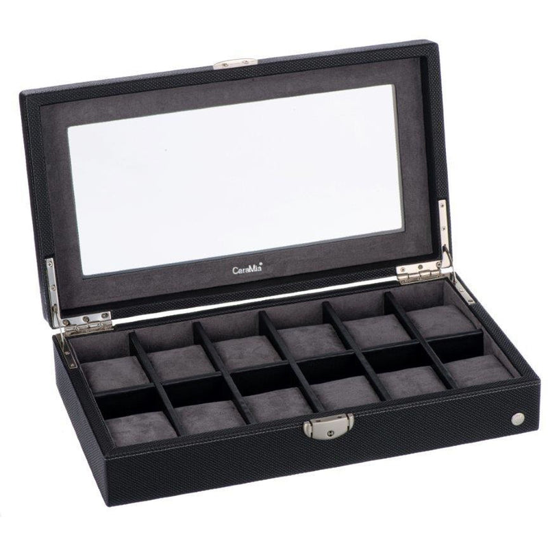 Caramia Lexi Watch Box 12 | Black Carbon Fiber