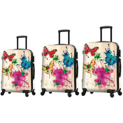 Mia Toro 3 Piece Luggage Set - Painted Butterflies