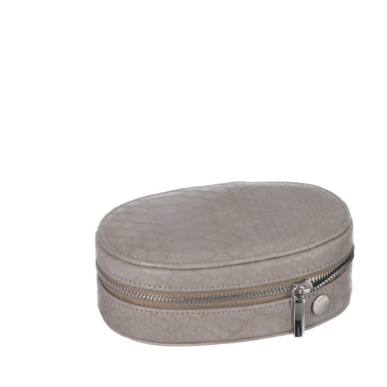 Caramia Reece Oval Traveller | Platinum Grey Snake - iBags.co.za