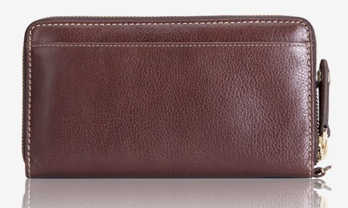 Jekyll & Hide Zulu Double Zipper Wristlet Purse | Burgundy