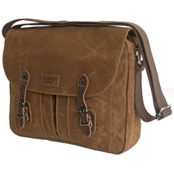 Troop London Heavy Wax Canvas Messenger Bag | Camel