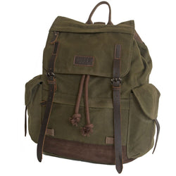 Troop London Heavy Wax Canvas Backpack Olive