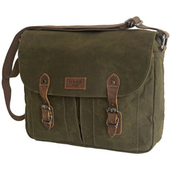 Troop London Heavy Wax Canvas Large Messenger Bag | Olive