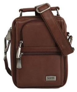 Brando Upright Leather Crossbody Tablet Bag | Brown