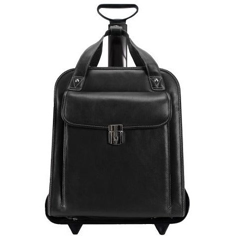 "Siamod Pastenello 15.6"" Leather Vertical Detachable-Wheeled Laptop Briefcase 