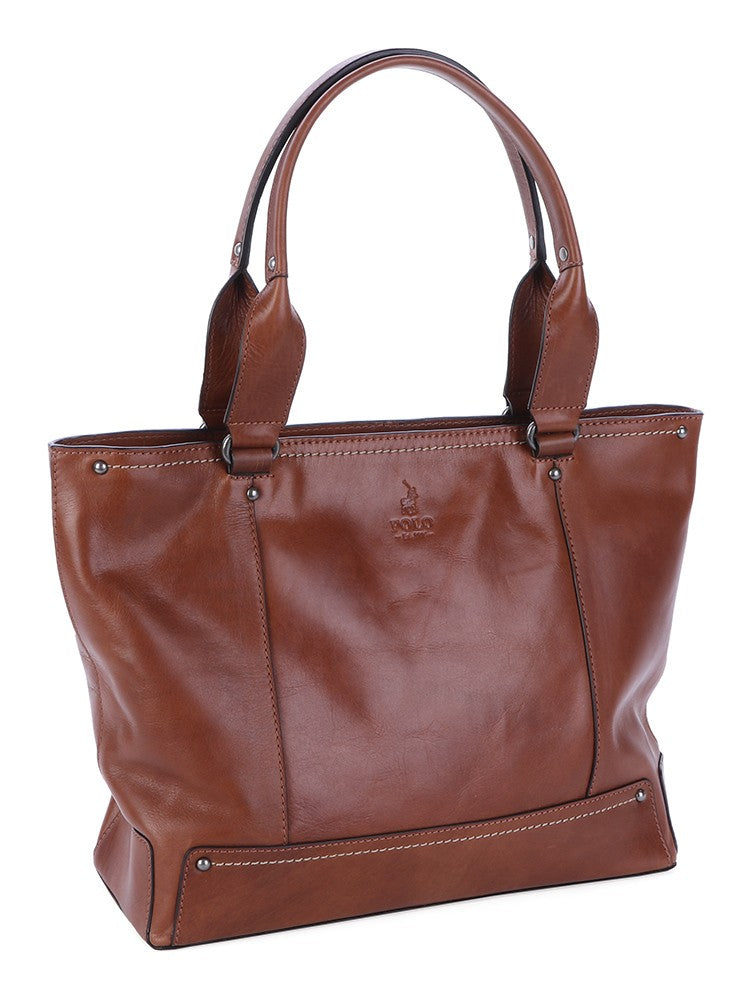 Polo Cairo Leather Tote Handbag Chestnut