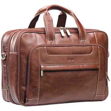 Adpel Italian Leather Computer Bag Brown
