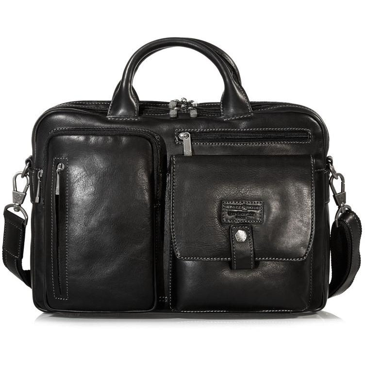 Jekyll & Hide Montana Leather Laptop Briefcase Black