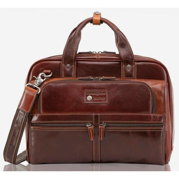 Jekyll & Hide Oxford Leather 17' Laptop Bag | Tobacco