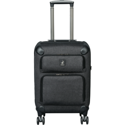 Polo Classic Double Pack Cabin 4 Wheel Trolley Case with 2 Front Zip Pockets Grey