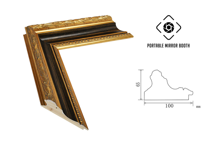 PMB-100 Birch Gold Frame - Portable Mirror Booth