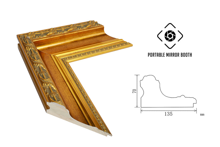 PMB-100 Honey Maple Gold Frame - Portable Mirror Booth
