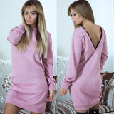 Casual O-Neck Long Sleeve Straight Dress Sexy Back V Neck Lace Dress Clothing WS4550V - Ayaen