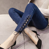 S-XXL Women Jeans Spring Hollow Out Cross Strap Bandage Pencil Pants ayj-15 - Ayaen