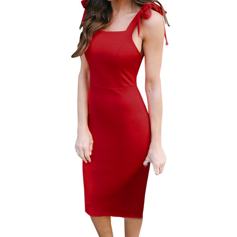 Women Strapless Casual Solid Sleeveless Knee Length Dress Loose Party Dress - Ayaen