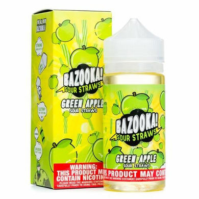 Green Apple Sour Straws Ejuice by Bazooka Vape - 100ml