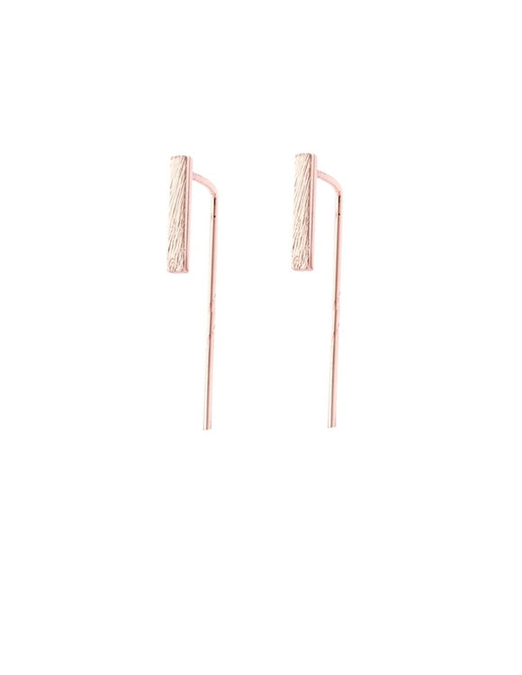 Minimalist Bar Earrings Rose Gold - PrettyParade