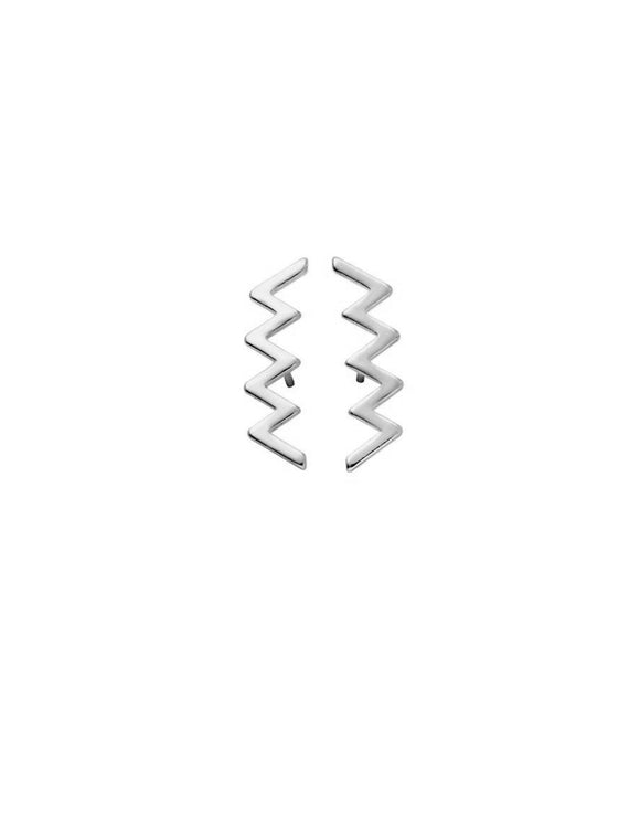 Zig Zag Stud Earrings Silver - PrettyParade