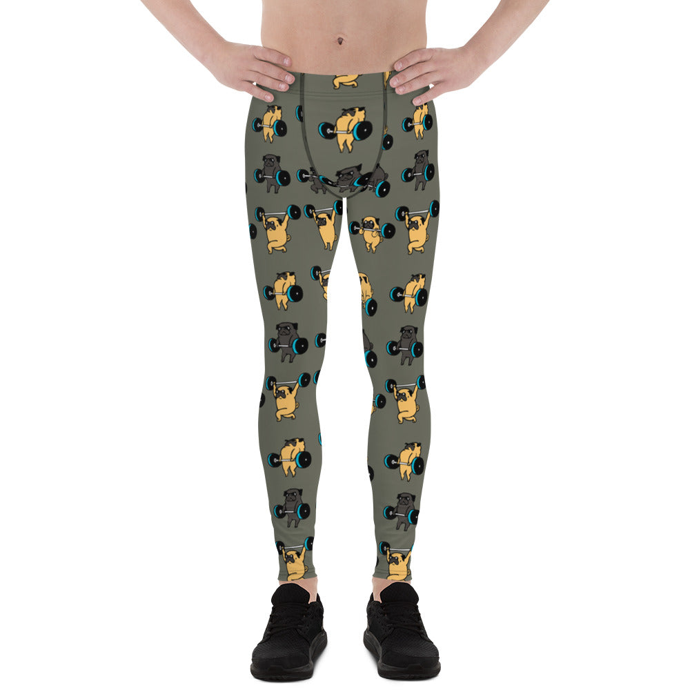 Olympic Lifting Pug Khaki Men's Leggings