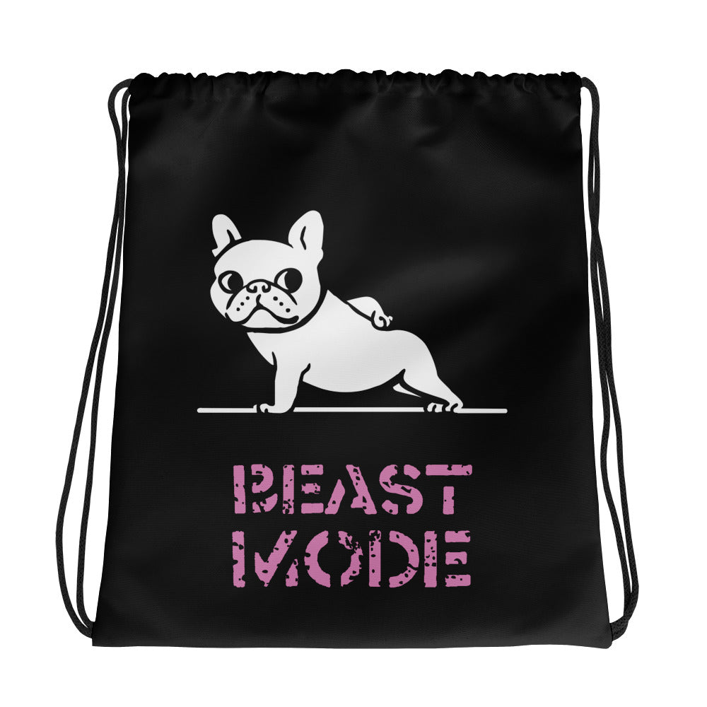 Beast Mode Frenchie Drawstring bag