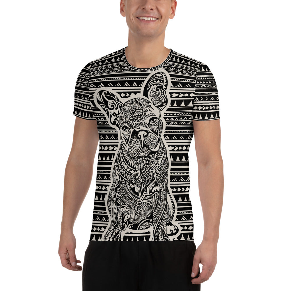 Polynesian French Bulldog All-Over Print Men's Athletic T-shirt