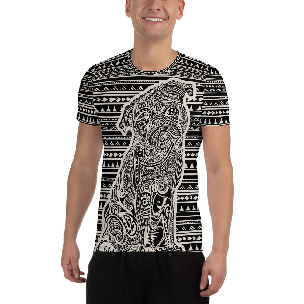 Polynesian Pug All-Over Print Men's Athletic T-shirt
