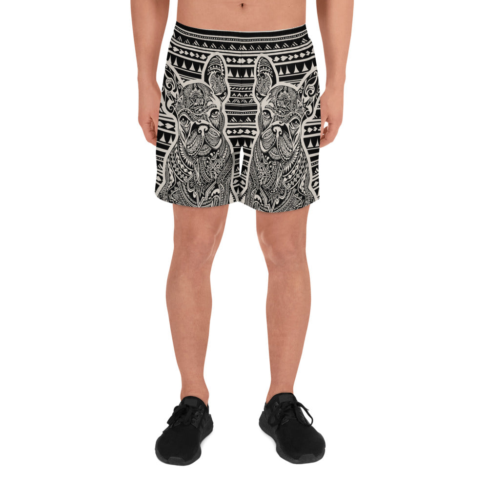 Polynesian Frenchie Men's Athletic Long Shorts