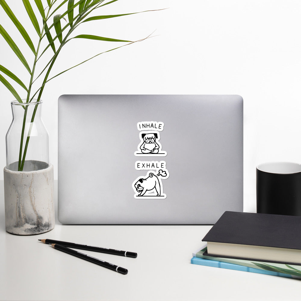 Inhale Exhale Pug Bubble-free stickers