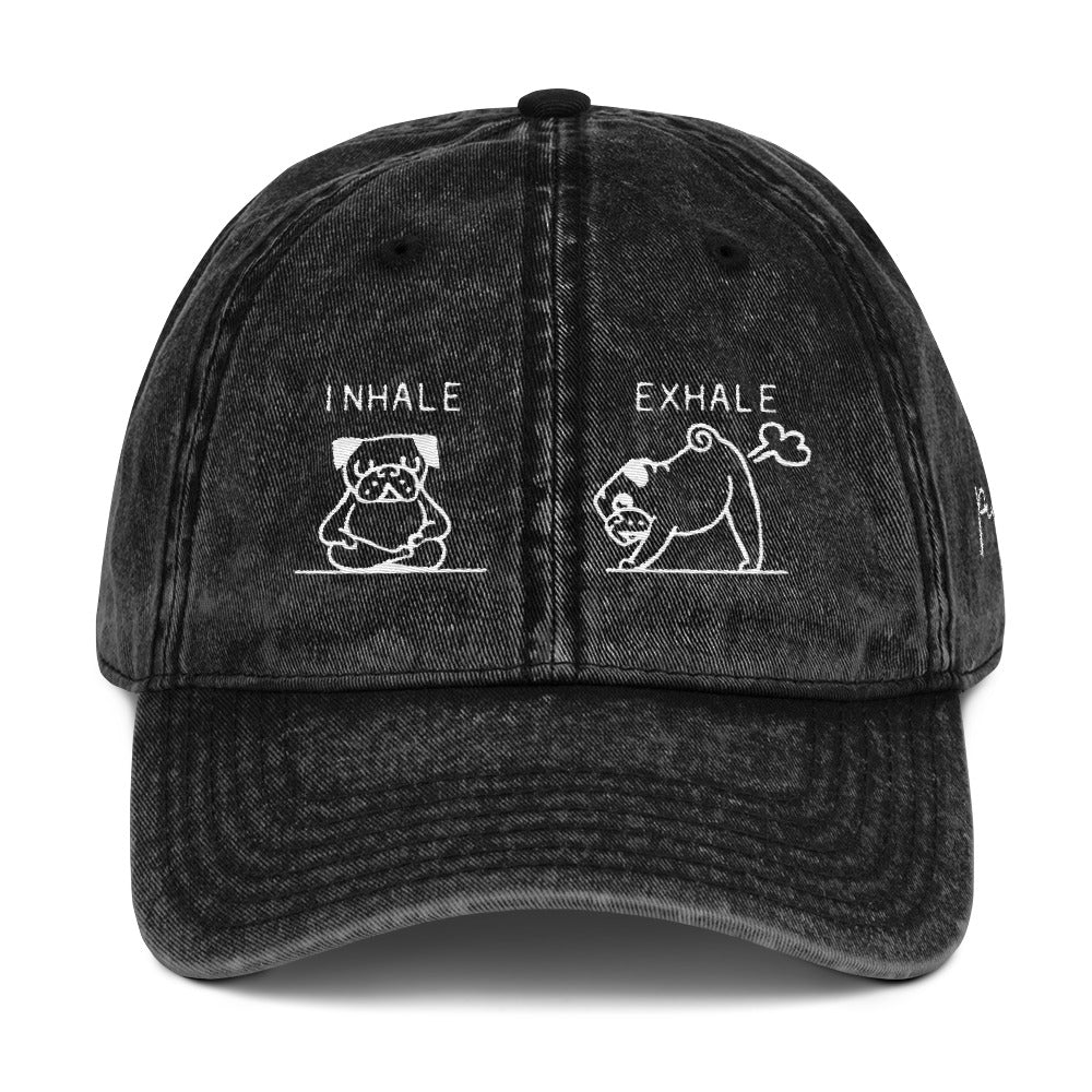 Inhale Exhale Pug Vintage Cotton Twill Cap