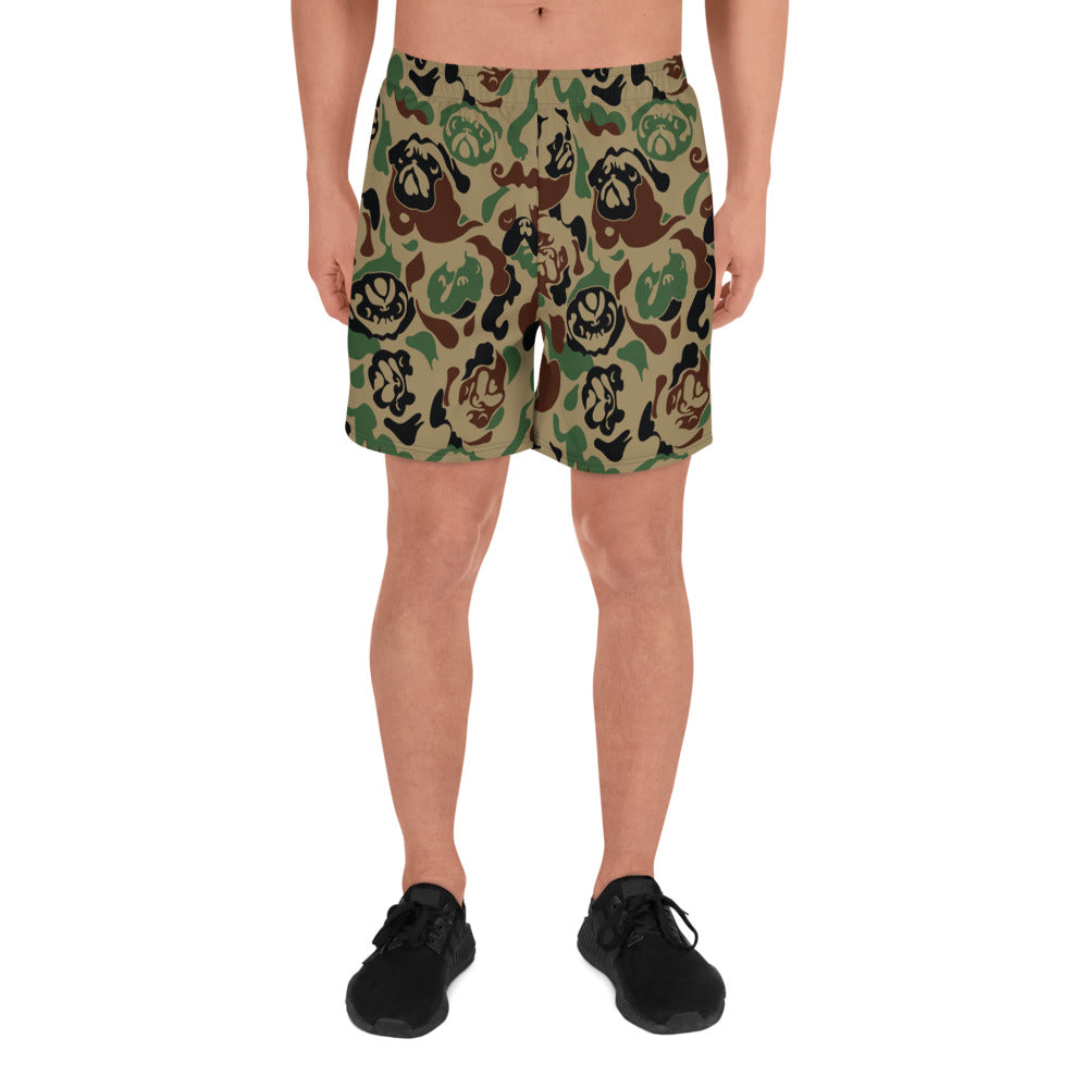 Pug Camouflage Men's Athletic Long Shorts