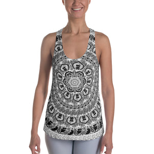 Black Pug Yoga Medallion Women's Racerback Tank