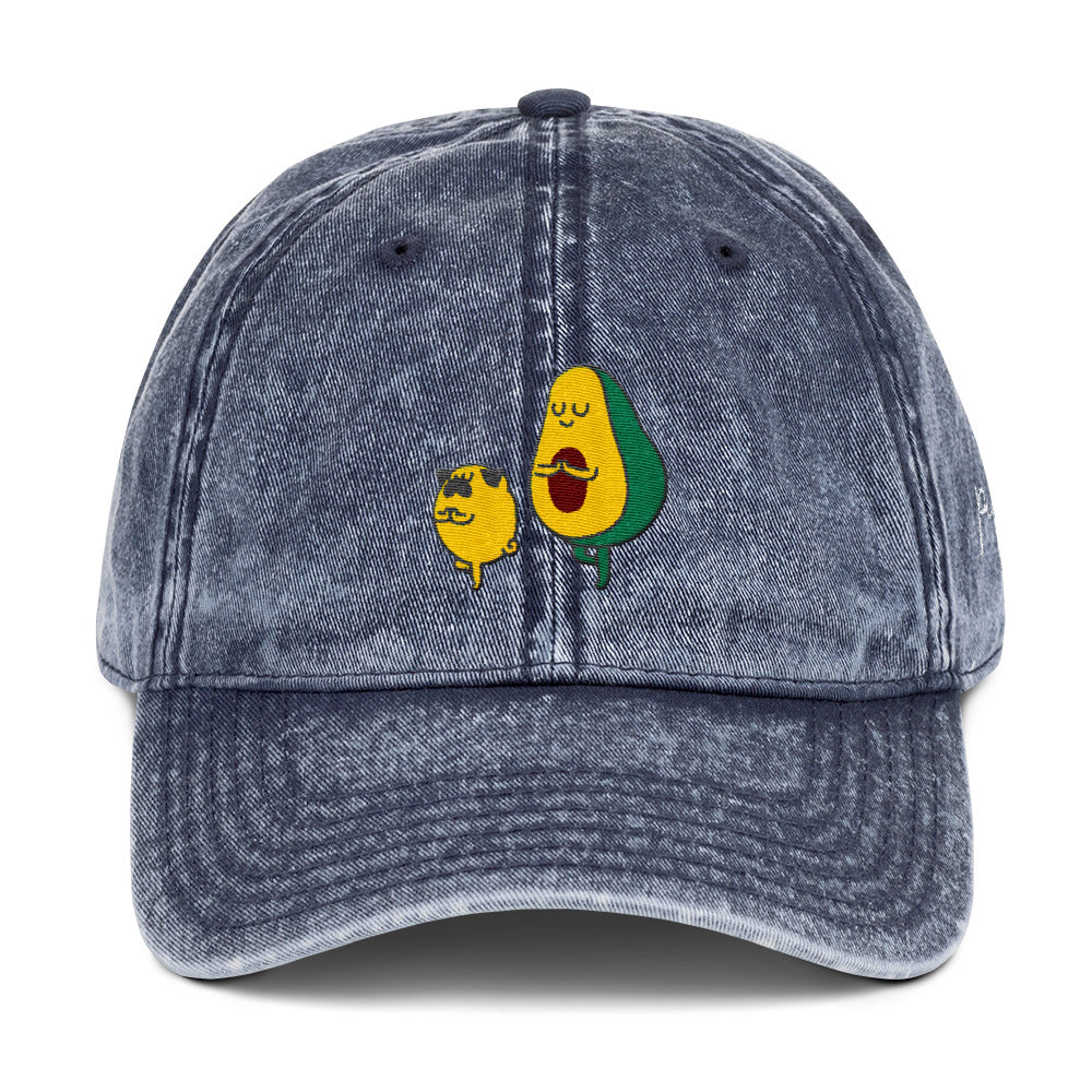 Pug and Avocado Yoga Vintage Cotton Twill Cap