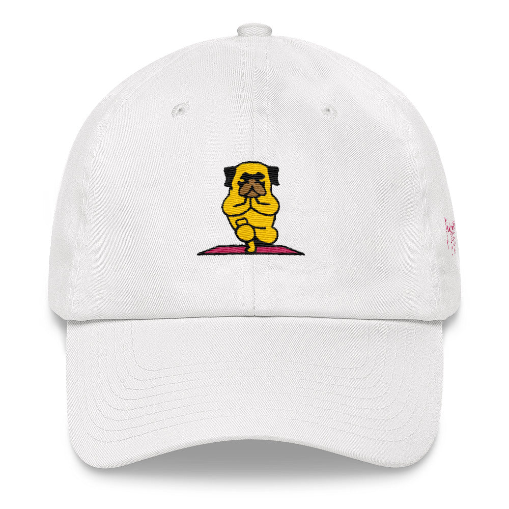 Pug Yoga Toe Stand  Dad hat