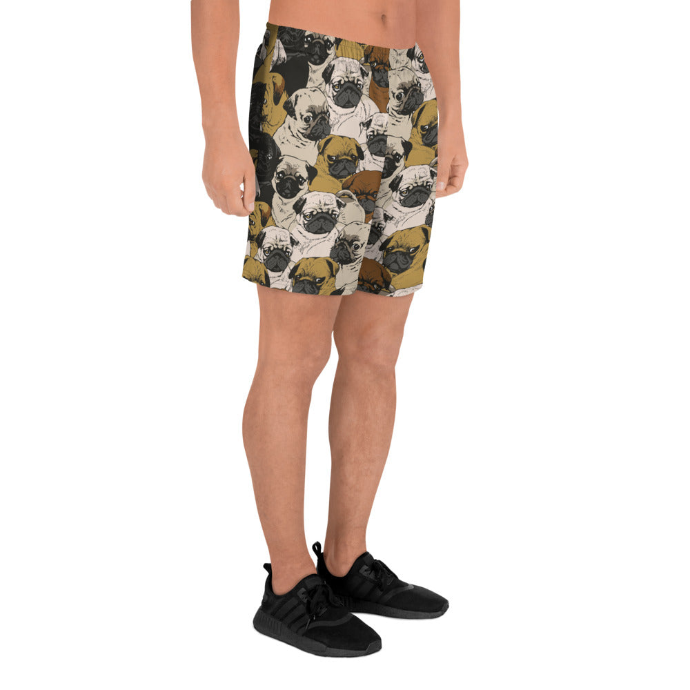 Social Pugs Men's Athletic Long Shorts