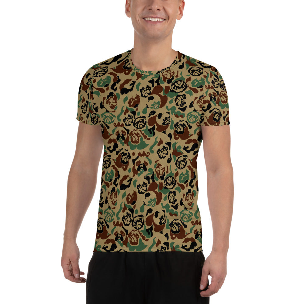 Pug Camouflage All-Over Print Men's Athletic T-shirt