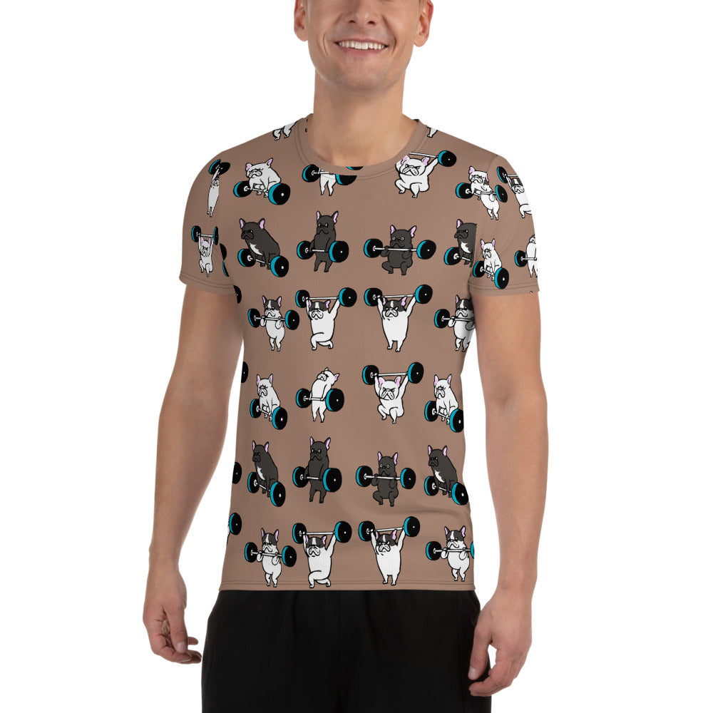 Olympic Lifting French Bulldog All-Over Print Men's Athletic T-shirt