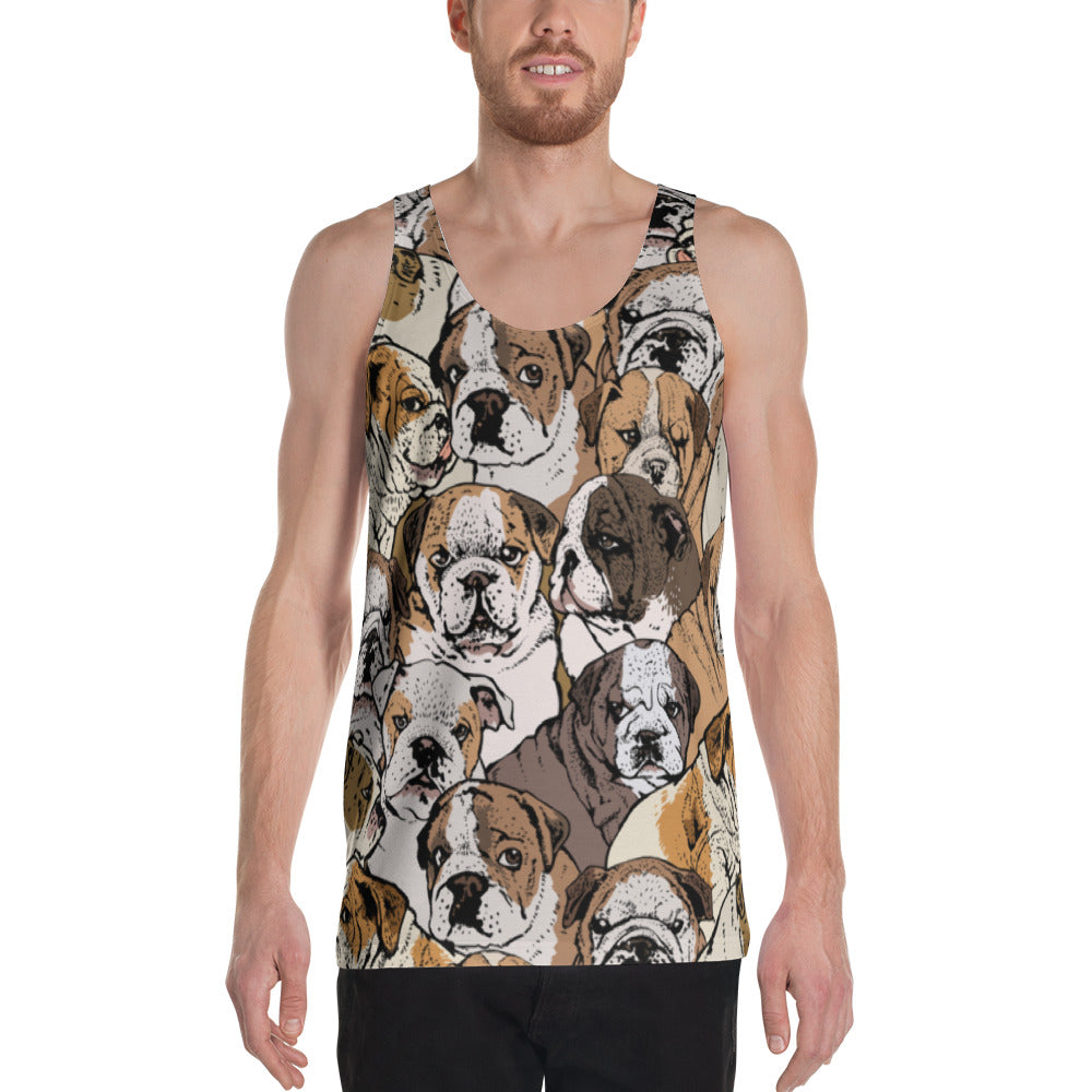 Social English Bulldog Unisex Tank Top