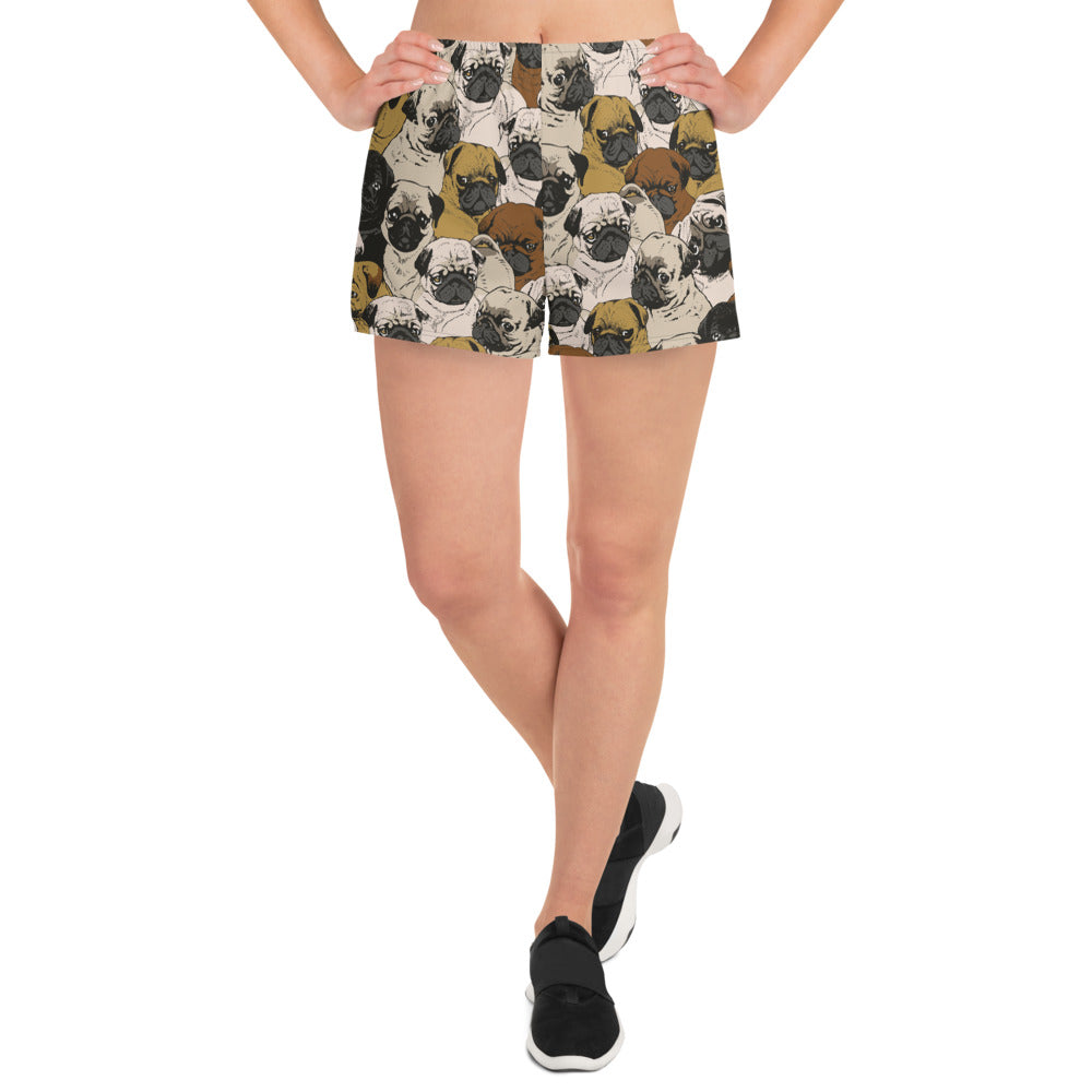 Social Pugs Women's Athletic Short Shorts