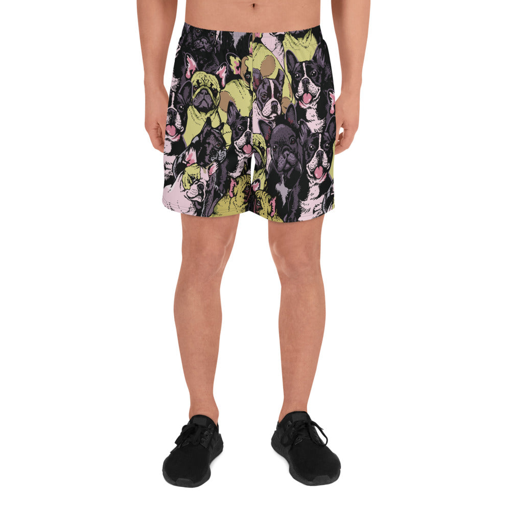 Social French Bulldog Men's Athletic Long Shorts