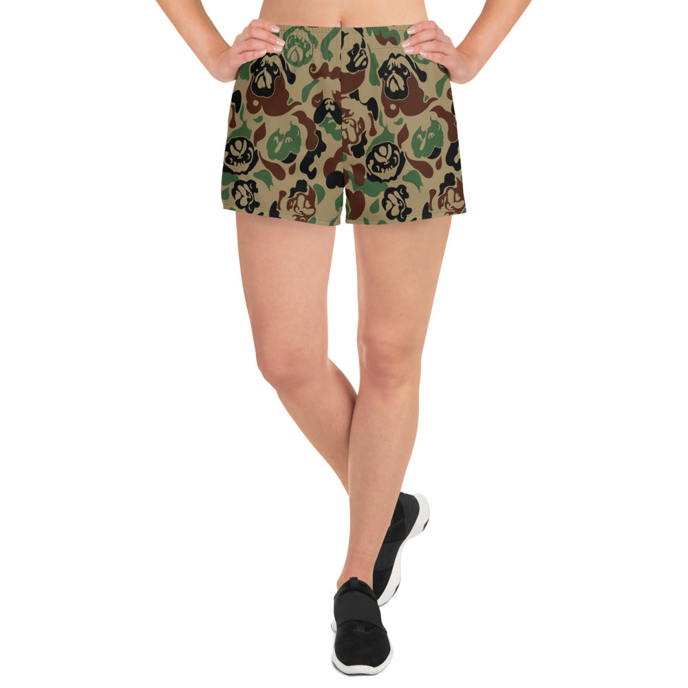 Pug Camouflage Women's Athletic Short Shorts