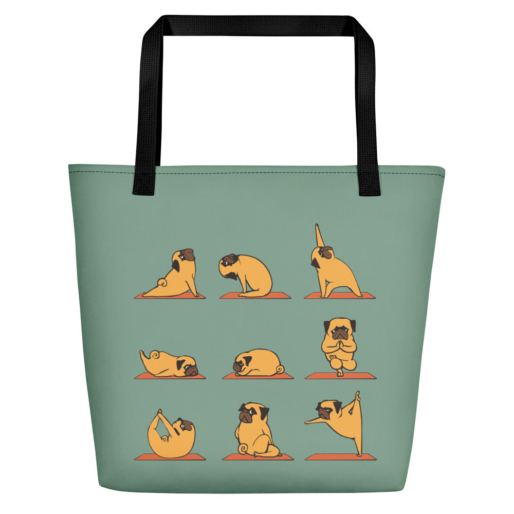 Pug Yoga Beach Bag