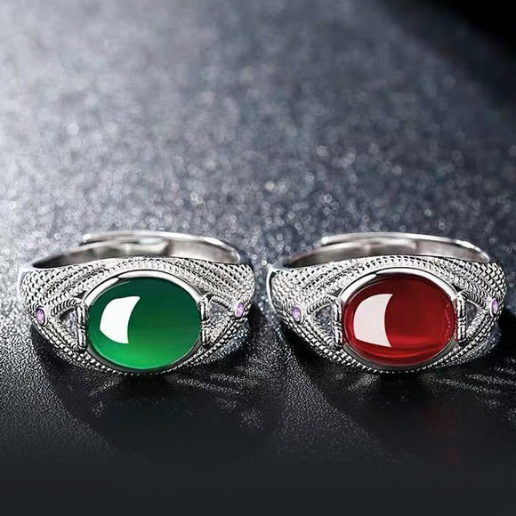 K Red and green gemstone open ring(COD)